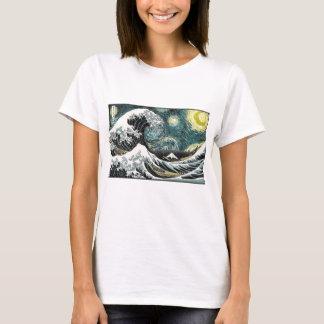 Van Gogh den Starry natten - Hokusai som Tee Shirt
