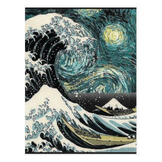 Van Gogh den Starry natten - Hokusai som Vykort