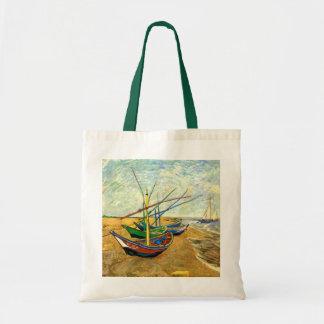 Van Gogh fiskebåtar på strand på Saintes Maries Tygkasse