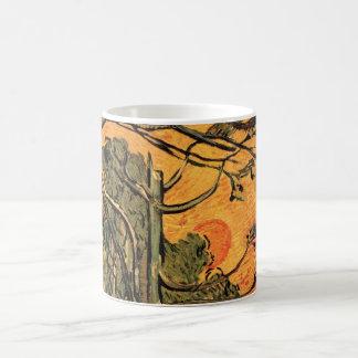 Van Gogh grästräd mot den röda solen för Kaffemugg