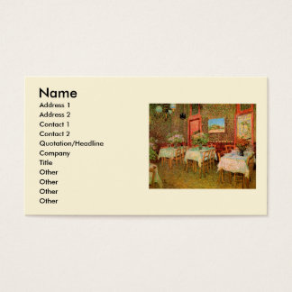 Van Gogh insida av restaurangen, vintagekonst Visitkort