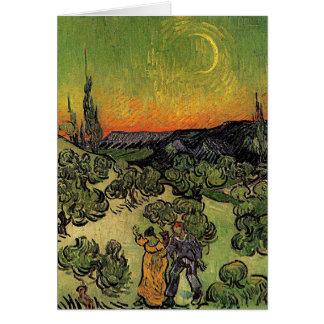 """Van Gogh """"landskap med kopplar ihop att gå"""" kortet Hälsningskort"""