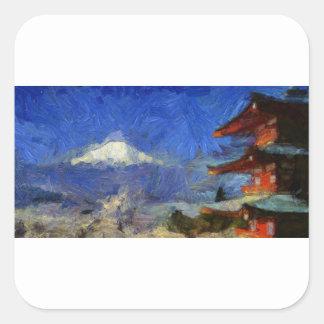 Van Gogh Mt-Fuji-Japan Fyrkantigt Klistermärke