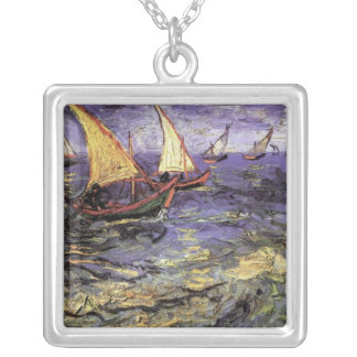 Van Gogh sjölandskap på Saintes Maries, konst Silverpläterat Halsband