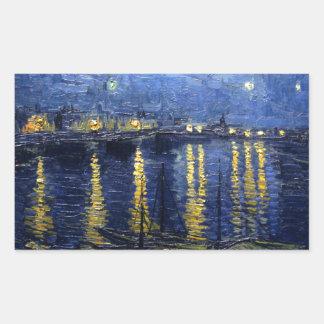 Van Gogh: Starry natt över Rhonen Rektangulärt Klistermärke