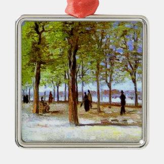 Van Gogh: Terrass i den Luxembourg trädgården Silverfärgad Fyrkantigt Julgransprydnad
