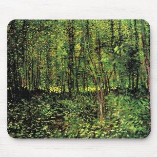 Van Gogh träd och undervegetation, vintagekonst Musmatta