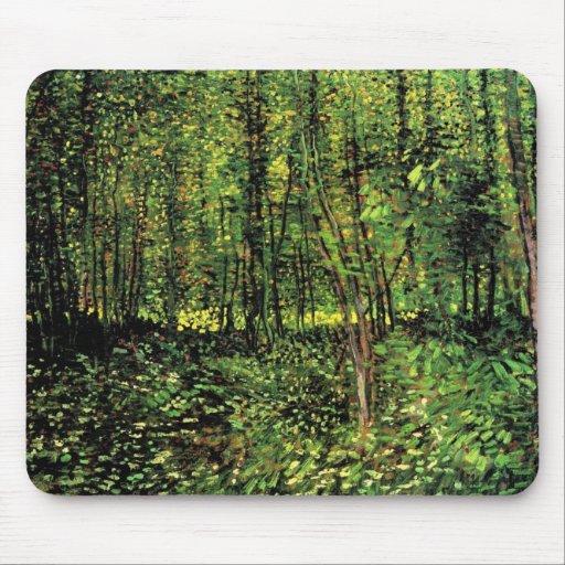 Van Gogh, träd och undervegetation, vintagekonst Musmatta