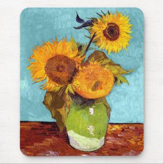 Van Gogh - tre solrosor i en vas - konst Musmattor