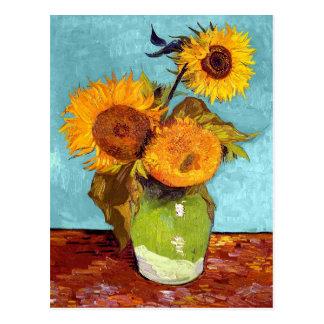 Van Gogh - tre solrosor i en vas - konst Vykort