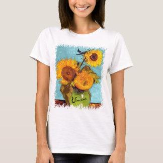 Van Gogh - tre solrosor i en vaskonst T-shirt