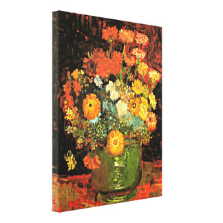 Van Gogh - vas med Zinnias Canvastryck