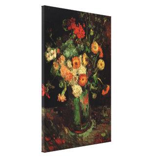 Van Gogh vas med Zinnias och pelargonkonst Canvastryck