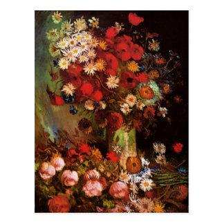 Van Gogh vintage blommar i vasblommigtstilleben Vykort