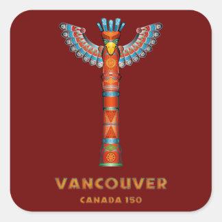 Vancouver (BC) Kanada - Totem Pole Fyrkantigt Klistermärke