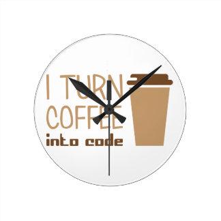 Vänd kaffe in i kodifierar medium rund klocka