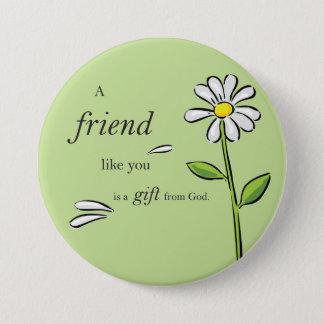 Vängåva av guden, daisy på grönt, religiösa mellanstor knapp rund 7.6 cm