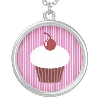 Vaniljmuffin- och rosarandar silverpläterat halsband