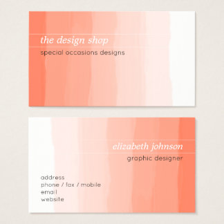 Vanlig elegant enkel persikavattenfärgpastell visitkort