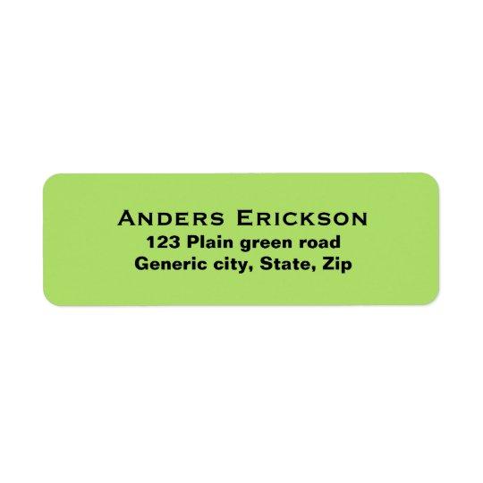 Vanlig enkel grön anpassningsbar för bakgrundssvar returadress etikett