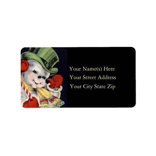 Vänlig etikett för snögubbevintageadress adressetikett
