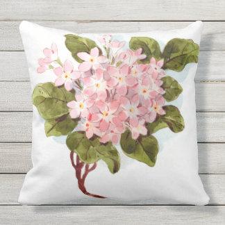 Vanlig hortensia för vintagevattenfärgrosor dekorativ kudde