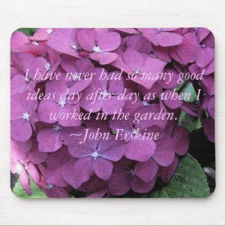 Vanlig hortensia Mousepad med trädgårdarbeteaste c Musmatta