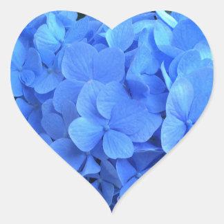 VANLIG HORTENSIA så blått & grönt - Hjärtformat Klistermärke