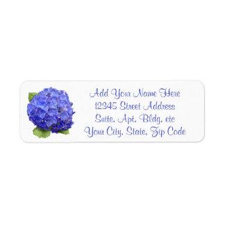 Vanlig hortensiablommigt returadress etikett
