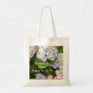 Vanlig hortensiavattenfärgbröllop hänger lös budget tygkasse