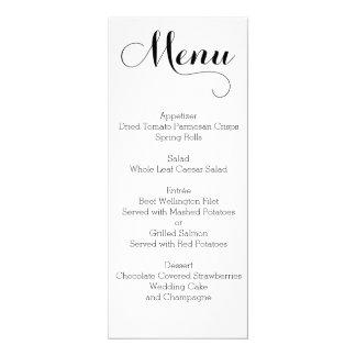Vanlig personlig för vitbröllopmeny 10,2 x 23,5 cm inbjudningskort