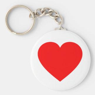 Vanlig röd hjärta rund nyckelring
