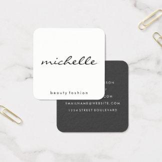 Vanlig vit för Minimalist med Cursive text Fyrkantigt Visitkort