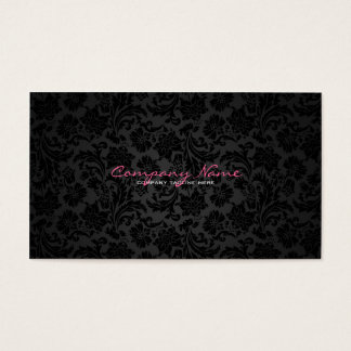 Vanliga damaster för vit- & svartvintageblommigt visitkort