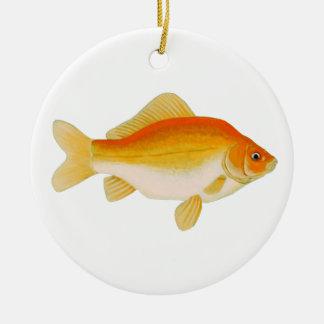 Vanligt guldfisk julgransprydnad keramik