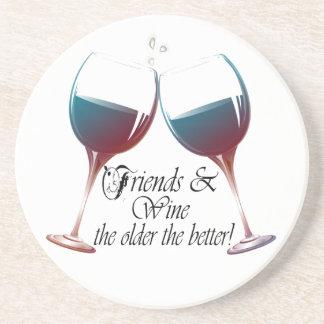 Vänner och vin, äldre det bättre, vingåvor glasunderlägg i sandsten