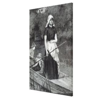 """Väntande far, från """"fritidtimme"""", 1888 canvastryck"""