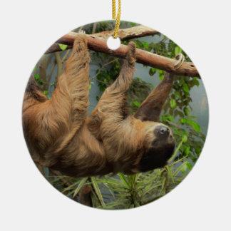 Väntande Santa för Sloth prydnad Julgransprydnad Keramik