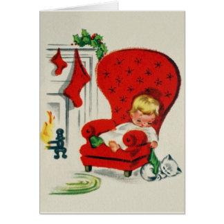 Väntande Santa för vintage julkort Hälsningskort