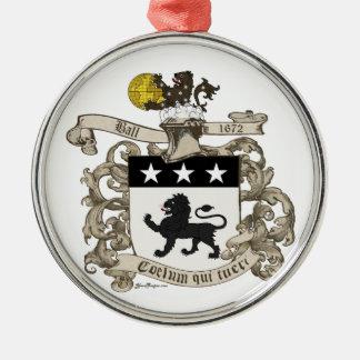 Vapensköld av översteWilliam boll av Virginia. Rund Silverfärgad Julgransprydnad