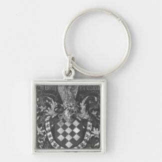Vapensköld av Simon de Lalaing Fyrkantig Silverfärgad Nyckelring