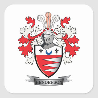 Vapensköld för Henderson familjvapensköld Fyrkantigt Klistermärke