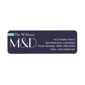 vår adress, monogrammed blått returadress etikett