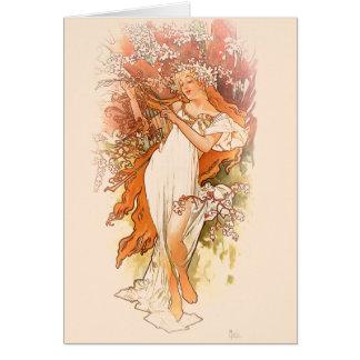 Vår - Alphonse Mucha art nouveau Hälsningskort
