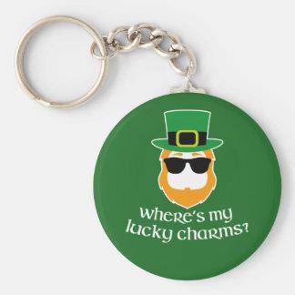 Var är min lyckliga berlock? St Patrick dagtroll Rund Nyckelring