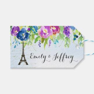 Vår blommor med det Paris Eiffel torn Presentetikett