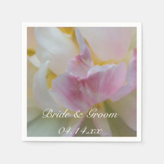 Vår bröllop för rosa- och vittulpanblomma pappersservetter
