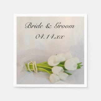 Vår bröllop för vittulpanbukett servetter