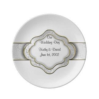 Vår bröllopsdag (silver) porslinstallrik