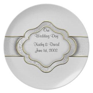 Vår bröllopsdag (silver) tallrik